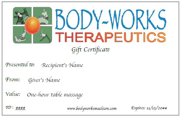 A gift certificate for massage or yoga is the perfect way to share the gift of health!